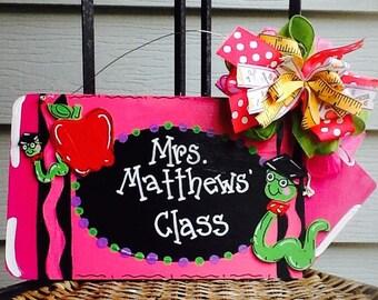 Teacher door sign, teacher sign, school sign, school door sign, classroom sign, classroom door sign, teacher door hanger, classroom decor