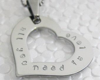 Stainless steel open heart pendant