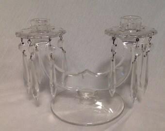 Pair vintage crystal candleholders, pair double candleholders with prisms, elegant candleholders, vintage crystal candle holders
