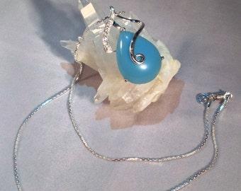 Blue chalcedony pendant. Blue chalcedony necklace. Chalcedony necklace. White topaz. Sterling silver. Gemstone jewelry. Jewellery. Jewelry.