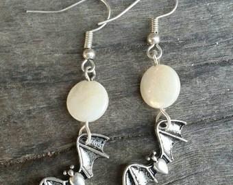 Moon & bat earrings