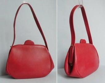 40s Vintage Red Leather Handbag