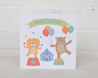 Children's Birthday Card, Circus Animals Card, Cute Birthday Card, Birthday Card for a boy, Birthday Card for a girl