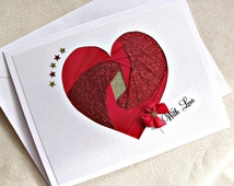 handmade iris fold valentine greeting card – with love