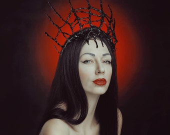 Black elves crown -  headpiece with branches - headdress with sticks - Gothic black crown
