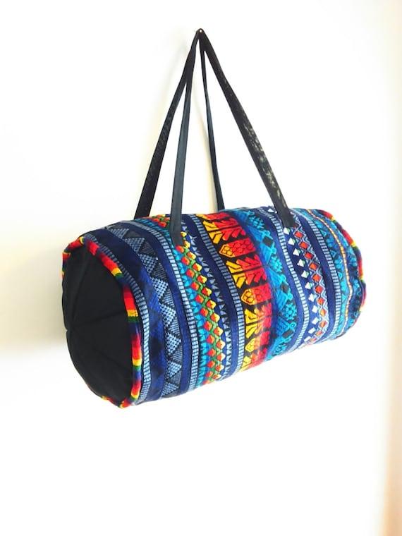 Vintage Woven Guatemalan Duffle Roll Bag Bohemian Hippie