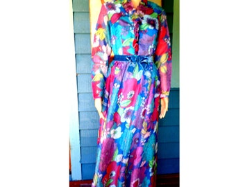 Vintage 60's/70's Formal Hostess Chiffon Evening Gown/Maxi Psychedelic Floral Print/Peacock Colors/Fitted Waist/Lined Approx Size Small