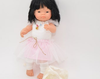 Miniland doll clothes, 16 inch doll clothes,  5 pieces set, miniland doll, pink tutu skirt, ecrue blouse, fur collar