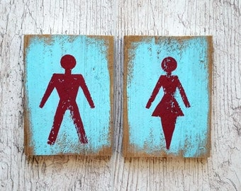 Wood toilet signs Restroom sign set Male and Female Toilet door sign