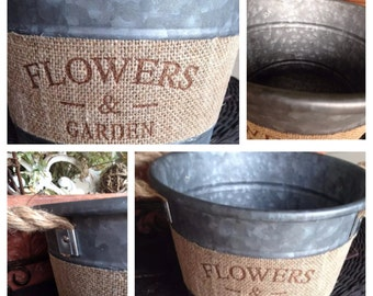 "Vintage Galvanized Metal Bucket W/Burlap Imprinted Band'Flowers & Garden""Rope Handles"