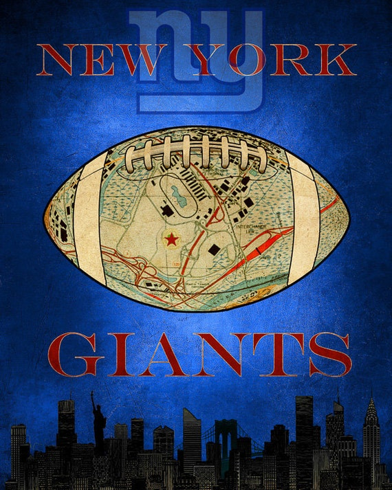 Ny Giants Man Cave Decor : New york giants poster football decor nyc map man cave