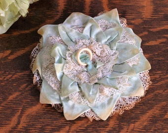 Vintage 1920s Powder Puff / Mint Green Satin And Lace And Celluloid / Vanity Toiletries Cosmetic