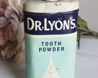 Vintage 1960s 1970s Dr Lyons Tooth Powder Tin / Dental Care / Teeth Polish / Tooth Cleaning / Original Powder Vintage Cosmetic / Pharmacy