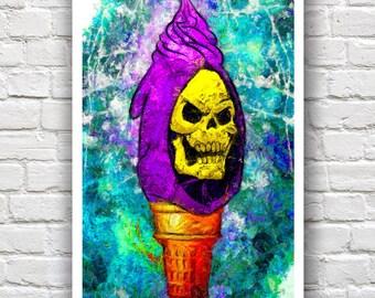 "Skeletor Ice Cream Print // Swirl Series // Heavy Impasto Digital Painting //  12"" x 18"""