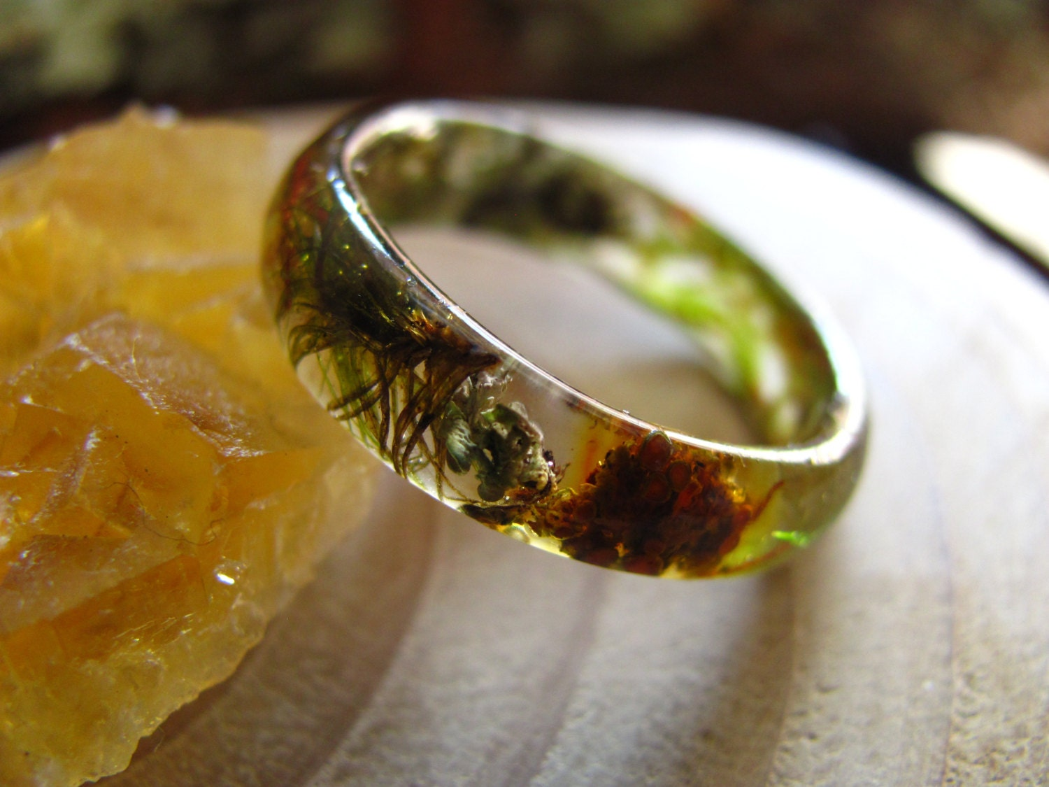 rustic wedding band mens country wedding bands Rustic Ring Mountain Resin Ring Forest Ring Men Wedding Ring Terrarium jewelry Real moss ring Nature Engagement Ring Outlander ring