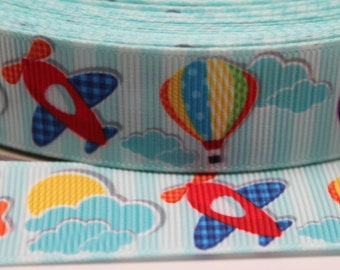 Airplane Ribbon 7/8 Inch Grosgrain Ribbon by the Yard for Hairbows, Scrapbooking, and More!!