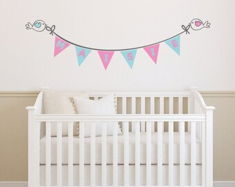 Cute birds and bunting personalised name wall sticker , decal, wall art for nursery , children's bedroom