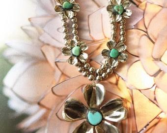 Handmade Desert Turquoise Flower - Squash Blossom Necklace // Real Turquoise Stones  //