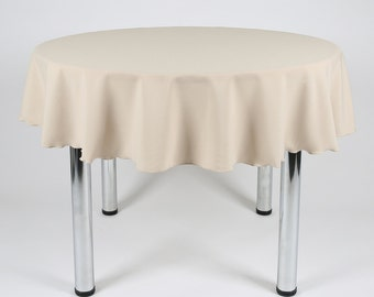 Stone (Beige) Round Tablecloth - Made from polyester fabric not cotton.