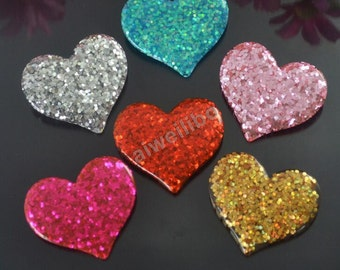 Mix Color Resin Heart Cabochons ,Glitter Heart Cabochons,DIY hair decoration