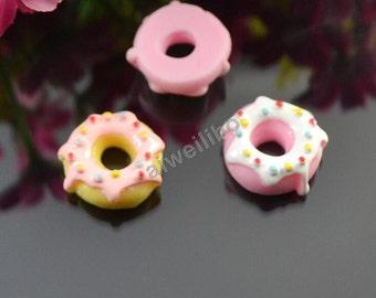 20 pcs 21mm Mix Color Resin Donut Cabochon Flat Back