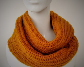 BIG SALE, Knit Scarf, Infinity Scarf, Mustard Yellow Scarf, Winter Scarves, Chunky Knit Cowl, Circle Scarf,Neck Warmer,Cowl Scarf,Wrap Scarf
