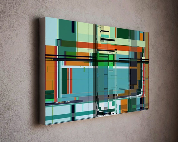 Stylish modern art canvas print in mondrian style and - Tapis style mondrian ...