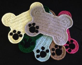 Crochet PATTERN Dog Bone Placemat Rug Pet Food by DACcrochet