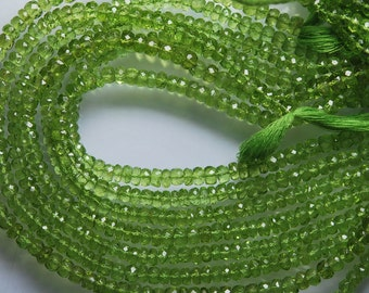 14 Inches Long Strand, Natural Peridot Faceted Rondelles Large Rondelles, Size 5.5mm