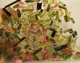 50 Pieces, Green Tourmaline Stick Loose, 10-15mm