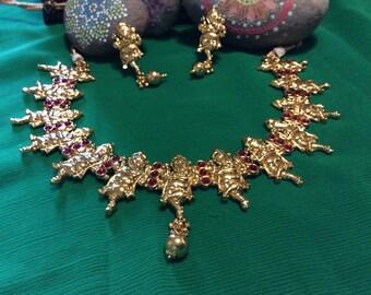 1 Gram Ganesha Necklace & Earring