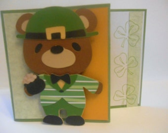St Pats Day Card Beary Cute