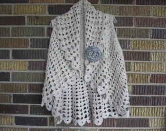 Crochet Beige Bolero, Handmade Ponchos, Bolero Shrug with Flower Pin, Size S-M