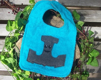 Mr. Mjolnir Thor's Hammer Bib for Baby - Aqua and Gray - Heathen Pagan Viking Norse Baby Clothing