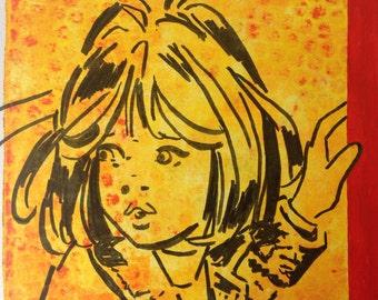 "Vintage Comic Inspired Monoprint ""Shirley"""