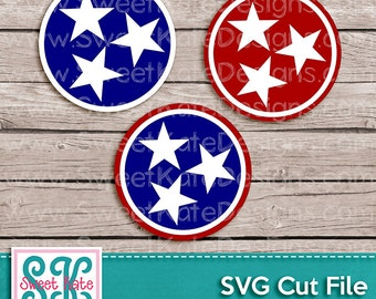 TriStar Circle SVG JPG PNG Star {Scrapbook Die Cut Heat Transfer Vinyl htv} Silhouette Cameo Cricut Explore Sweet Kate Designs Tennessee