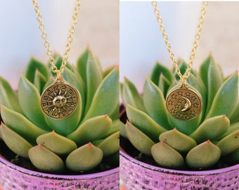 Gold Celestial Sun & Moon Zodiac Necklaces