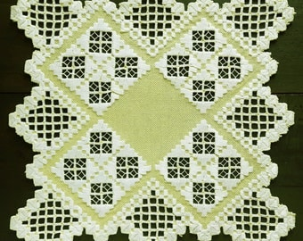 Yellow green hardanger embroidered doily