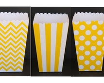 12 Yellow Popcorn Boxes- Treat Boxes - Party, Birthday and more
