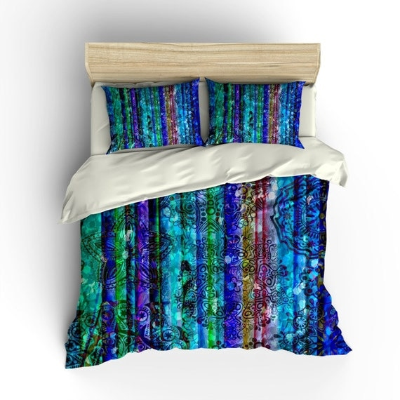 Boho Chic Bedding Duvet Cover Set Gypsy Blues By Folkandfunky