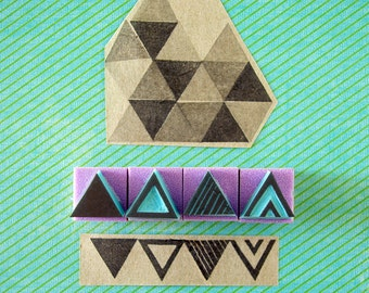 Mini triangles rubber stamps, set of 4, hand carved,  DIY decor, hipster, geometry, set of stamps