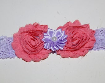 Lavender and Coral Flower Headband