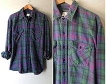 Vintage Thick Faded Plaid Flannel Button Down - Size Men's XL