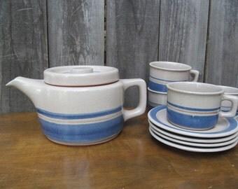 Mid-Century Varoslod Majolika Hungary Hand Painted Stoneware Tea Set