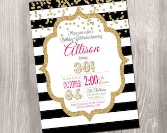 Unicorn Birthday Invitation Magical Unicorn Invite Unicorn - Black and white striped birthday invitations