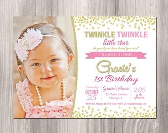 Twinkle twinkle little star invitation, pink and gold, 1st birthday invitation, first birthday, star, glitter, printable invitation, digital