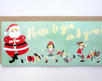 Santa and Elves Yoga Greeting Card