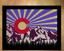 SALE - Ships Aug 27 - Colorado Flag, Dictionary Art Print, Colorado Art, Boulder Denver, Colorado State Flag, Home Decor, Wall Art da327