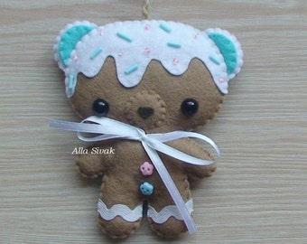 Blue Bear felt Ornament, Teddy Bear Felt Doll, Hanging Wall Decor, Soft Animal Plush, Funny Bear Plushie, Nursery decor, Sweet Bear Toy