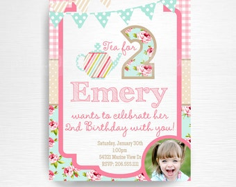 Tea Party Printable Invitation YOU Print Tea for Two Pink Blue Floral with photo